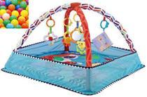 Tapete de Atividade Azul para bebê com brinquedo e bolinhas - Colorbaby