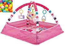Tapete de Atividade Rosa para bebê com brinquedo e bolinhas - Color Baby