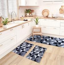 Tapete de Cozinha Antiderrapante Mosaico Jogo de 3 Peças - A Cortineira