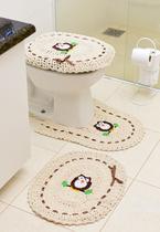 Tapete De Crochê Para Banheiro Bordado 3pç Coruja Fita Marrom - Store Mais