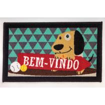 Tapete de Entrada Nylon-latex Home Fun  60x36cm Cachorro Verde Doorp9_6 - Cida cortinas