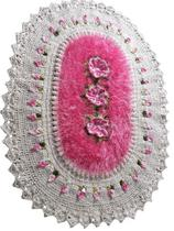 Tapete de Luxo crochê Artesanal Branco com Flor - Shoppingnet