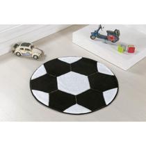 Tapete de Pelúcia com Base Antiderrapante para Quarto de Meninos Formato Bola de Futebol 65cm - Guga Tapetes