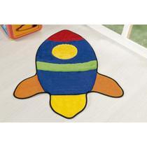 Tapete Decorativo de Pelúcia Base Antiderrapante Foguete - Guga Tapetes