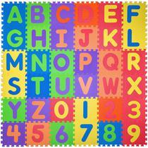 Tapete Eva Educativo 36 Pçs Abc Número Alfabeto 12x12cm 7mm - Tuca Home