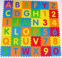 Tapete Eva Educativo 72 Pçs Abc Número Alfabeto 12x12cm 7mm - Tuca Home