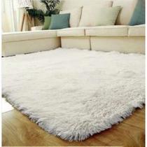 Tapete felpudo macio sala e quarto 2,00x1,40 branco - Bh Enxovais