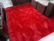 Tapete Felpudo para sala ou quarto 1,00x1,50 Vermelho liso - Enxovais M&C