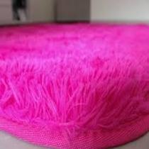 Tapete Felpudo Rosa Pink 1,50X2,00-Pelo Alto Costa Oro -