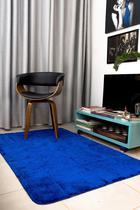 Tapete Felpudo Sala ou Quarto Pelo Baixo 1,50x1,00: Azul - D. Vieira Têxtil & Decor