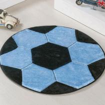 Tapete Grande Infantil Pelúcia Bola Futebol - Azul 0de1e58aee4a3