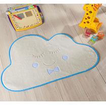 Tapete Grande Infantil Pelúcia Nuvem Baby Premium Antiderrapante - Palha Azul - Guga tapetes