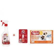 Tapete Higienico Sanol Dog 30 unidades + Educador Sanitário Canino Stop Dog + Atrativo Sanitário Canino Pipi Pode Sanol -