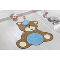 Tapete Infantil de Bebê Formato Ursinho Bola Azul Claro - Guga Tapetes