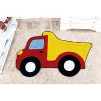 Tapete Infantil para Quarto de Meninos Antiderrapante Caminhão Caçamba 87cm x 58cm Pelúcia - Guga Tapetes