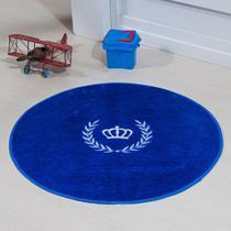 Tapete Infantil Pelúcia Quarto de Bebê Coroa Ramo Premium Antiderrapante - Azul Royal - Guga Tapetes