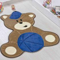 Tapete Infantil Pelúcia Quarto De Bebê Urso Bola Baby Premium Antiderrapante - Azul Royal - Guga Tapetes