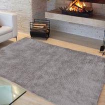 Tapete Liso para Sala e Quarto Soft Peludo Casa Dona 100x150cm Cinza -