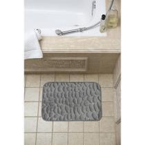 Tapete para banheiro  formato pedrinha cinza - Loani