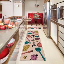Tapete para Cozinha Kapazi Cotton 80x50 cm Time com Antiderrapante -