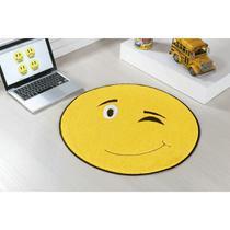 Tapete para Quarto Antiderrapante Tecido Pelúcia Bordada Emotion Pisca Pisca Amarelo - Guga Tapetes