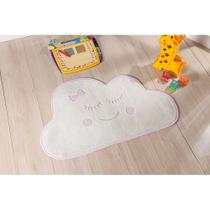 Tapete para Quarto Infantil Antiderrapante Formato Baby Nuvem Tecido Pelúcia Bordada Rosa - Guga Tapetes