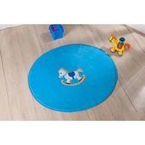 Tapete para Quarto Infantil Antiderrapante Pelúcia Bordada Redondo Cavalinho Azul Turquesa - Guga Tapetes