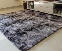 Tapete para Sala e Quarto Felpudo Cronos Casa Dona 100x150 cm Cinza -