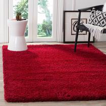 Tapete para Sala e Quarto Peludo Luxo Casa Dona 100x150cm Vermelho Nobre -