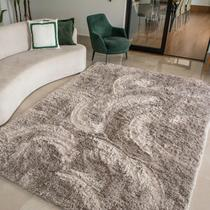 Tapete para Sala Luxo Confort Peludo Retangular Cinza Casen -