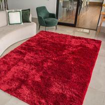 Tapete para Sala Peludo Felpudo Luxo Retangular Vermelho Casen -