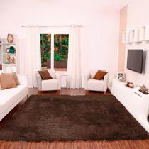 Tapete para Sala Shaggy Requinte Casa Dona 100x150cm Caramelo -