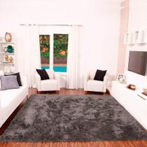Tapete para Sala Shaggy Requinte Casa Dona 100x150cm Cinza -