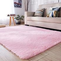 Tapete peludo felpudo 2,00 x 1,40 sala luxo rosa bebe - Costa Ouro