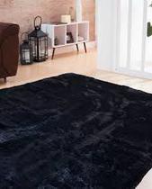 Tapete Peludo macio para sala ou quarto 2,00x2,40 Preto Liso - Enxovais M&C