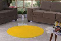Tapete Redondo De Pelúcia Para Sala Ou Quarto 1,10m X 1,10m Amarelo - Bordados Rodrigo