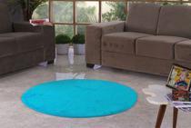 Tapete Redondo De Pelúcia Para Sala Ou Quarto 1,10m X 1,10m Azul Bebe - Bordados Rodrigo