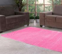 Tapete Retangular para Sala ou Quarto Rosa 70cm x 50cm - Vb