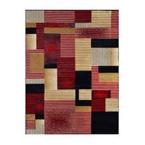 Tapete Retangular Veludo Marbella Illusione Artistic Preto 148x200 cm - Rayza