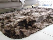 tapete sala 2,00x1,40 metro shaggy de luxo marrom mesclado black friday - Costa Oro