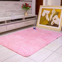 tapete sala 2,00x1,40 shaggy peludo de luxo rosa bebe - Costa Oro