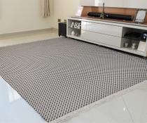 tapete sala antialérgico 100% algodão , resistente lavável em maquina , Xadrez Cinza , preto  / cru - Gouvea Textil