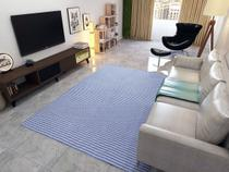 Tapete Sala Quarto Artesanal Missone 2,00m x1,50m Azul - A Cortineira