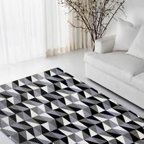Tapete Sala Quarto Geométrico Luxo Antiderrapante Preto 1,32x2,00 Dubai - Renascence Têxtil