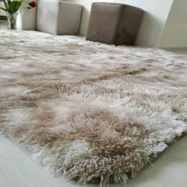 Tapete sala quarto peludo felpudo luxo macio 2,00 x 1,40 m Bege Mesclado - Mt Enxovais