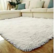 Tapete sala quarto peludo felpudo luxo macio 2,00 x 1,40 m branco - Mt Enxovais