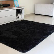 Tapete sala quarto peludo felpudo luxo macio 2,00 x 1,40 m preto - Mt Enxovais