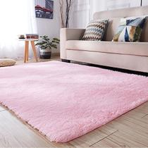 Tapete sala quarto peludo felpudo luxo macio 2,00 x 1,40 m rosa claro - Mt Enxovais