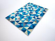 Tapete Saturs Moderno Ladrilho Azul 100 x 140 cm Tapete para Sala e Quarto - Saturs Tapetes