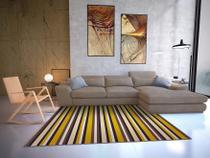 Tapete Saturs Moderno Listrado Amarelo 140 x 200 cm Tapete para Sala e Quarto - Saturs Tapetes